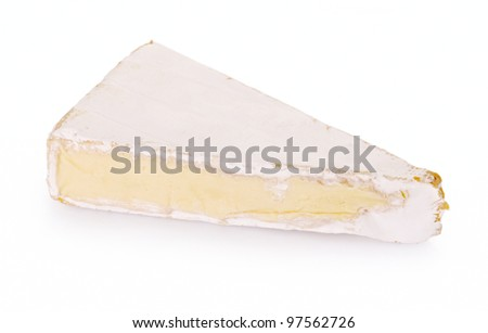 Brie cheese on a white background. - stock photo