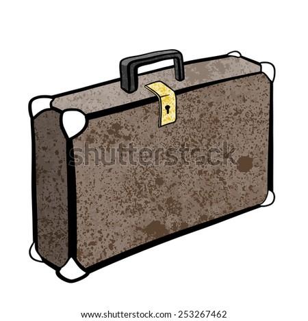 Briefcase. A children's sketch. Color image - stock photo