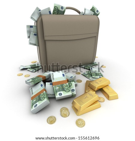 Briefcase brimming with Euros and gold - stock photo