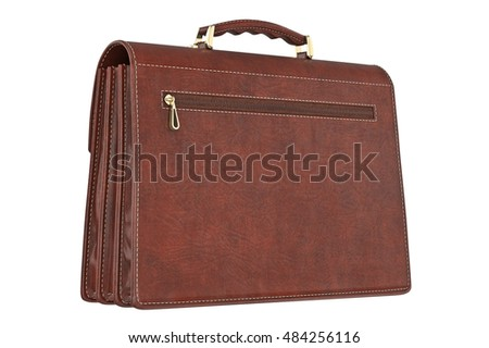 Briefcase classic brown vintage with zipper. 3D graphic