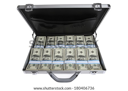 Briefcase filled with hundred-dollar bills - stock photo