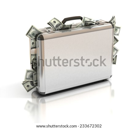 briefcase full of money - stock photo