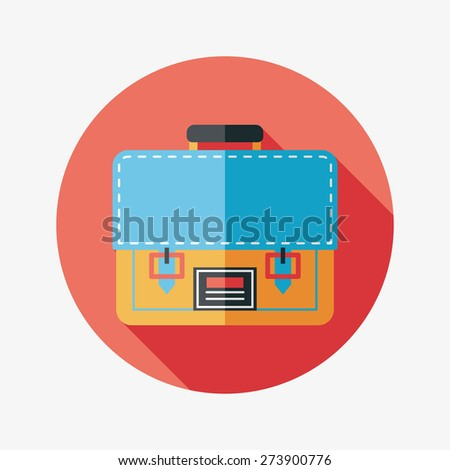 briefcase ,school bag flat icon with long shadow - stock photo