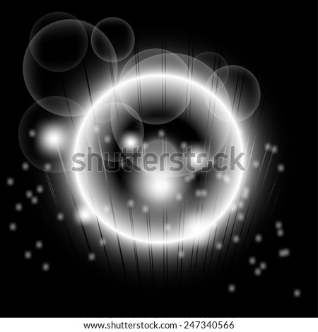 Bright abstract black lights over dot background  template - stock photo