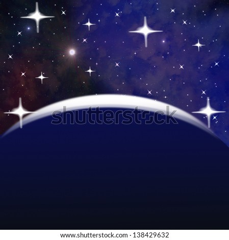 bright abstract celestial landscape  on the background of space, collage