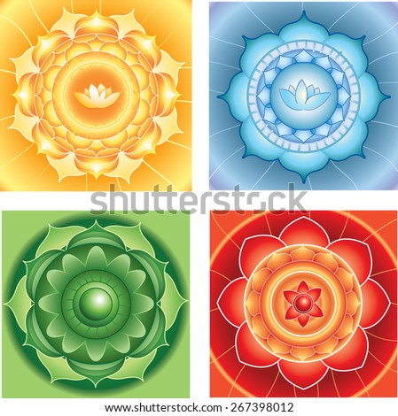 bright abstract circle backgrounds, mandalas of different chakra - stock photo