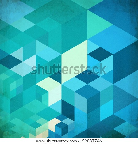 Bright abstract cubes grid blue background - stock photo