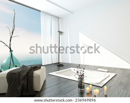 Bright airy modern bathroom interior with a large floor-to-ceiling view window, ottoman and sunken tub in a parquet floor. 3D Rendering.  - stock photo