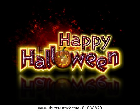 Bright and colorful Happy Halloween Lettering with Graphic of Fiery Pumpkin - stock photo