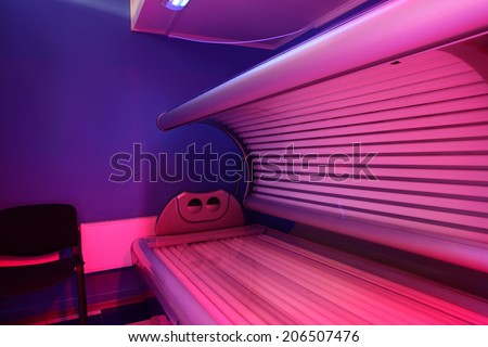 bright and colorful interior of european solarium - stock photo