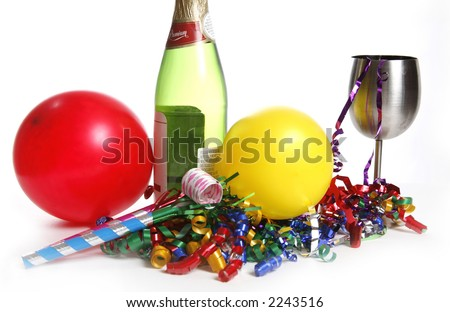 Bright and colorful party scene with champagne - stock photo