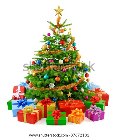 Bright and colorful studio shot of a Christmas tree with gift boxes - stock photo