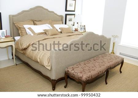 Bright and cozy bedroom - stock photo