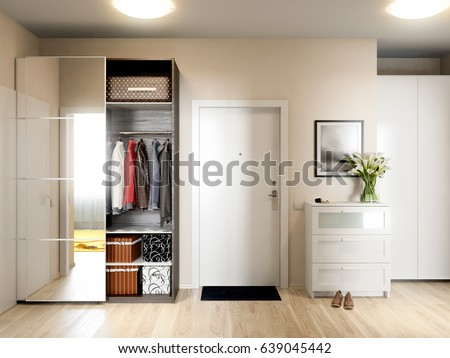 Bright And Cozy Hall Interior Design In Modern Urban Contemporary Style With Beige Walls White