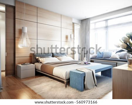 Bedroom stock images royalty free images vectors for Habillage fenetre baie window