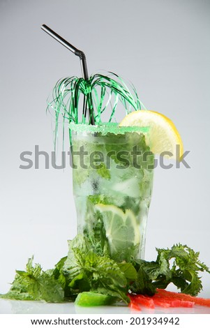 bright and fresh european cocktail on white background
