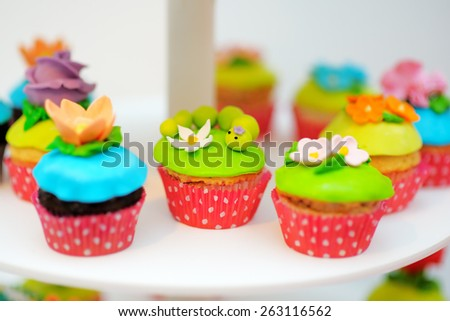 Bright and funny colorful cupcakes  - stock photo