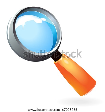 Bright and glossy magnifying glass. Raster version. For vector version of this image, see my portfolio.