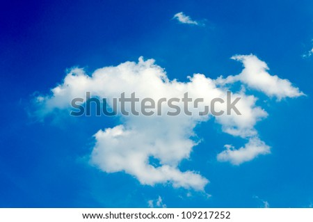 Bright and single white cloud - stock photo