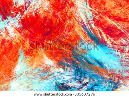 Bright artistic splashes. Abstract beautiful multicolor background. Dynamic painting  red and blue color texture. Modern futuristic pattern. Fractal artwork for creative graphic design