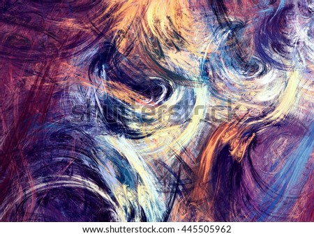 Bright artistic splashes. Abstract painting color texture. Modern futuristic pattern. Dynamic bright multicolor background. Fractal artwork for creative graphic design - stock photo