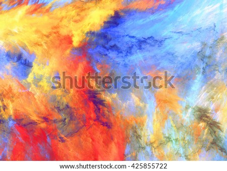 Bright artistic splashes. Abstract painting color texture. Modern futuristic pattern. Multicolor dynamic background. Fractal artwork for creative graphic design - stock photo