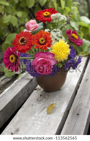 bright autumn bouquet outdoor