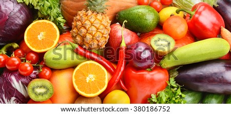 bright background of fruits and vegetables - stock photo