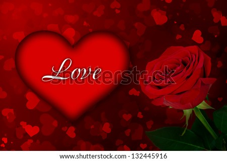 bright background of heart and red rose