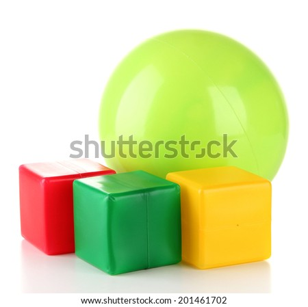 Bright ball and colorful cubes isolated on white