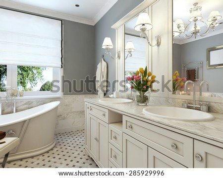 bright bathroom in classic design in blue and white colors 3d render - Bathroom Classic Design