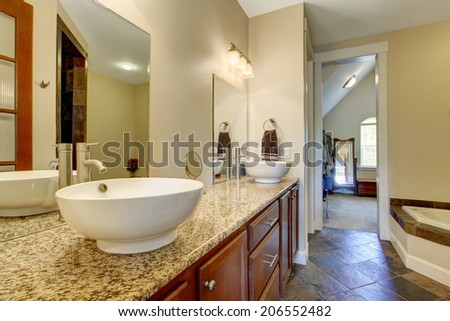 Bright bathroom interior. View of bathroom vanity cabinet with white vessel sinks and mirrors