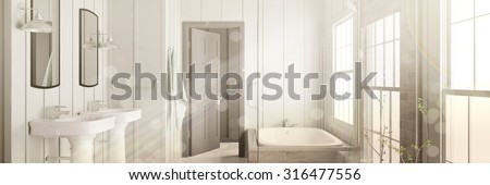 Bright bathroom with bathtub and light beams coming through the window (3D Rendering) - stock photo