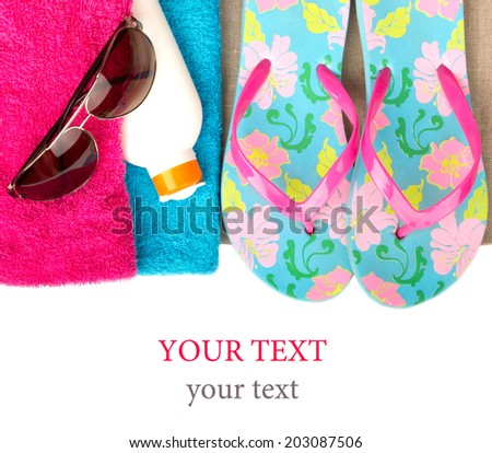 bright beach accessories, isolated on white - stock photo