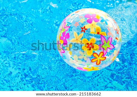 Bright beach ball in the water