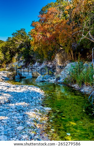 Bright Beautiful Fall Foliage on a Clear Rocky Creek with Stunning Maple Trees in Lost Maples State Park, Texas. - stock photo