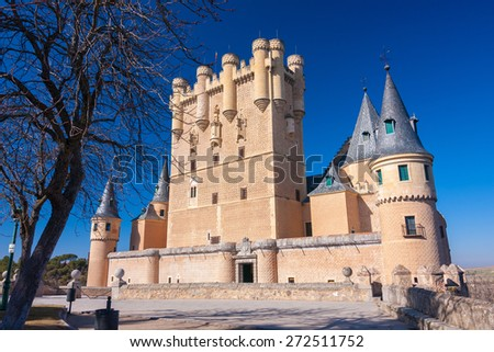 Bright Beautiful Image of the Historic Castle in Segovia, Spain