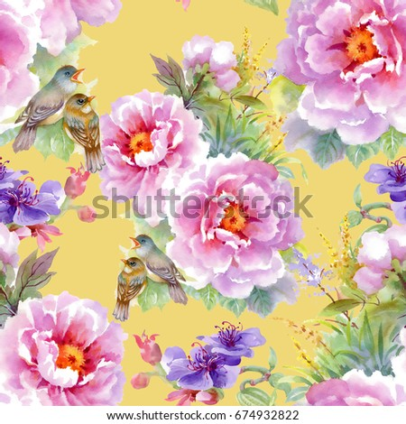 Bright beautiful watercolor seamless pattern on yellow background with pink and purple flowers, leaves and birds
