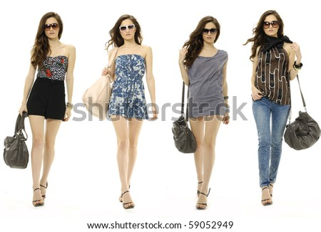 bright beautiful young woman with fashion sunglasses and handbag, collage - stock photo