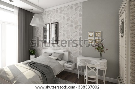 Bright Bedroom In Grey And White Colors 3d Rendering - stock photo