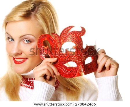 Bright blond girl with red mask - stock photo