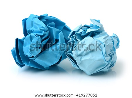 bright blue ball crumpled paper on a white background