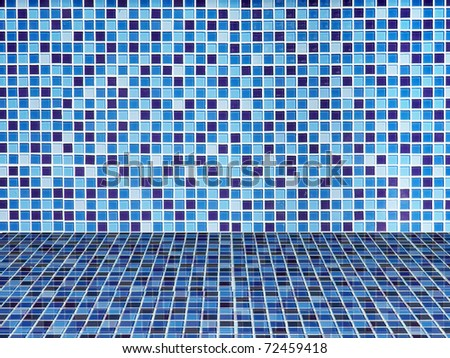 Bright blue ceramic Wall and floor background - stock photo