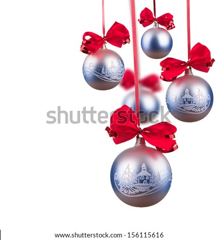 Bright blue Christmas tree balls with curly ribbons isolated on the white background - stock photo