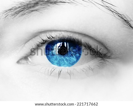 bright blue eye close up - stock photo