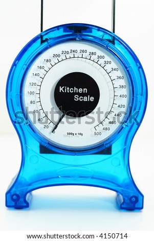 Bright blue kitchen scales isolated on white background - stock photo