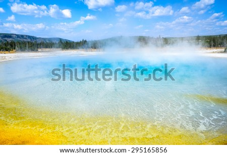 Bright Blue Pool at Yellow Stone National Park - stock photo