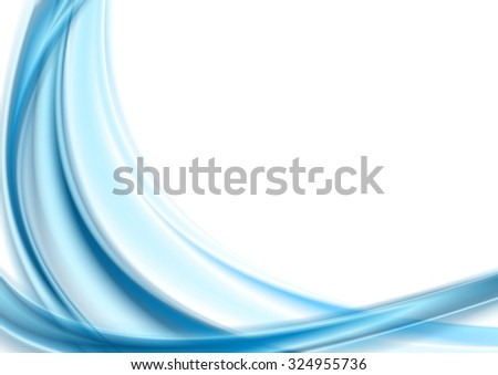 Bright blue smooth waves on white background - stock photo