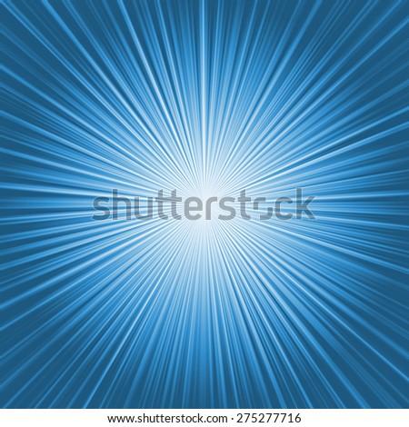 Bright blue starburst - stock photo