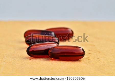 Bright brown capsules with shallow focus - stock photo